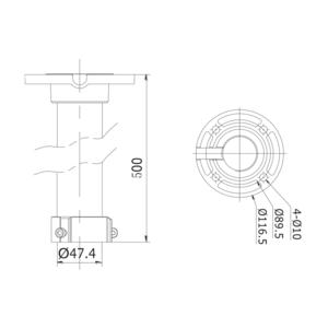 DS-1662ZJ - stropní konzole pro PTZ kamery , dlouhá, bílá - 2