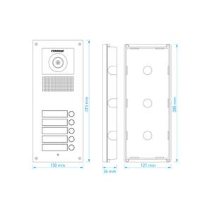 DRC-5UC - dveřní stanice s kamerou, 5 tlač., CVBS - 2