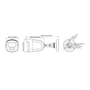 DS-2CE10DFT-F28(2.8mm) - 2Mpx, 4v1 bullet kamera; 2,8mm; WDR; bílé světlo 20m - 2
