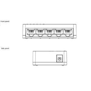 DS-3E0105D-E - switch 5 porty 10/100Mbps, bez PoE, plastový - 2
