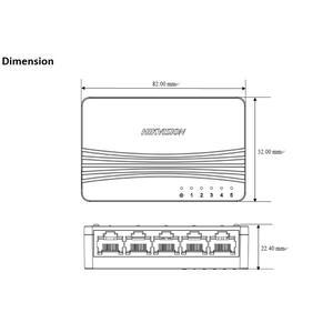 DS-3E0105D-E - switch 5 porty 10/100Mbps, bez PoE, plastový - 3