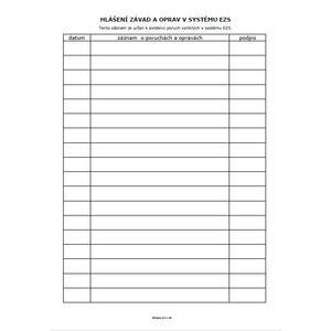 Provozní kniha EZS - tištěný formát A4 cca 20 stran - 3
