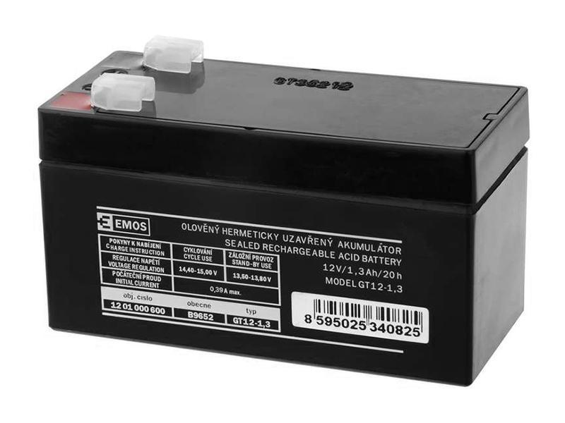 Akumulátor 12V / 1.3Ah, rozměr: DxŠxV = 97x43x57 mm