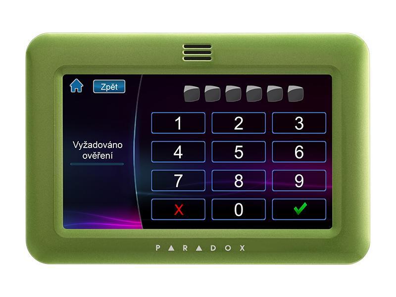 """TM50 - zelená, grafická EZS klávesnice s barevným dotykovým 5"""" LCD, zelená barva, Paradox"""