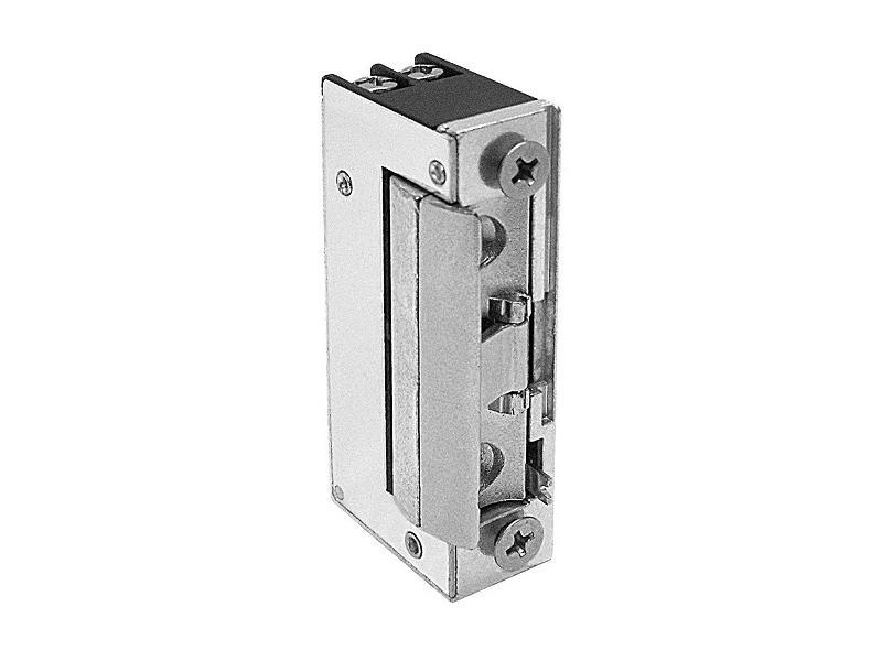 53.1.00.B, elektrický dveřní zámek mini s přidržením a mech. blokací, napětí 9-16 V AC/DC, O&C