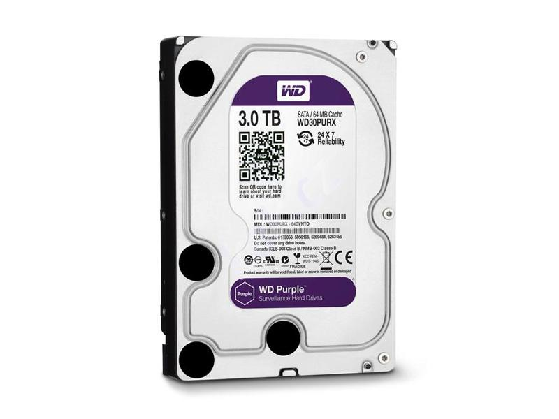 HDD-3TB, WD Purple 3000GB, 64MB cache, WD30PURX, Western Digital