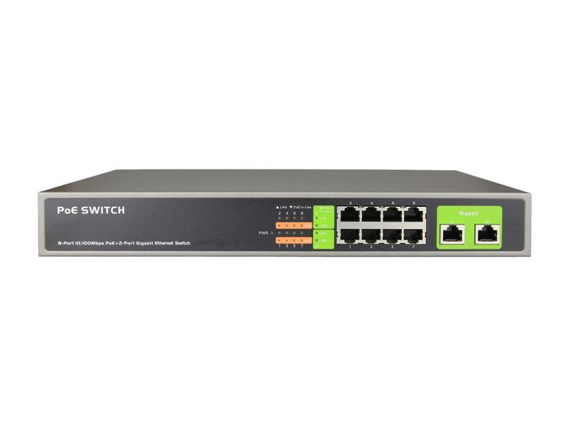 RX-PSE1008G, 10/8 PoE switch, 8x PoE port (100Mbit), 2x uplink (Gigabit), PoE max. 130W, PoE Plus