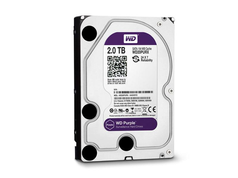 HDD-2TB, WD Purple 2000GB, 64MB cache, WD20PURX, Western Digital