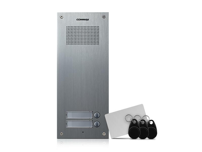 DR-2UM / RFID, Commax dveřní audiostanice pro systém 4+n se 2 tlačítky s integrovanou čtečkou